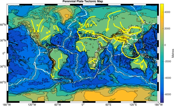 Perennial plate tectonic map